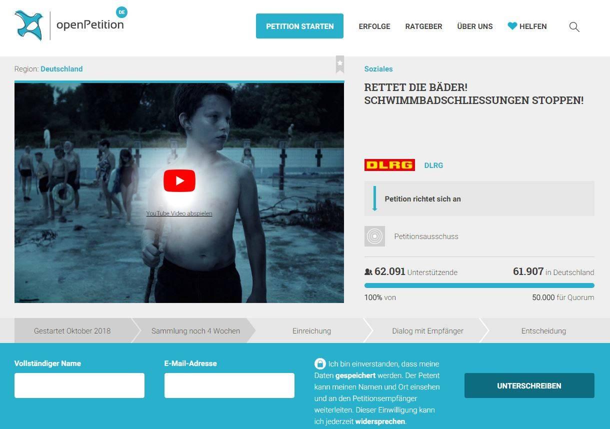 Die Petition auf der Plattform onlinePetition.de